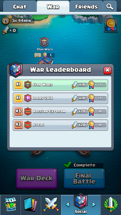 War Leaderboard Clan War - Nulls Royale.